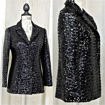 Black Sequin Blazer / size S / M / Vintage 80s glam bling / Sequined jacket / Cocktail / Party / Formal / Elegant