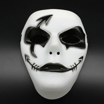Hand-painted Prom Mask Hip-hop Halloween Mask Hand-painted Plastic Mask Ghost Step Dance Unisex Adjustable Straps