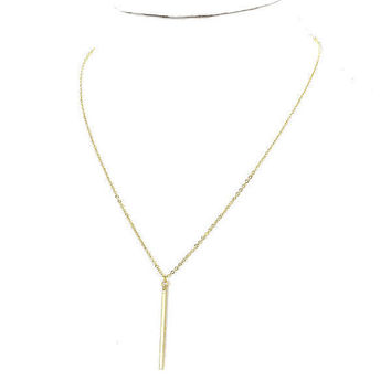 Delicate Tiny Gold Vertical Bar Pendant Layering Necklace