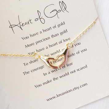 Gold Heart Hands Necklace, heart hands necklace, heart of gold, inspirational necklace, quote, best friend,Mother's Day Gift,16k gold filled