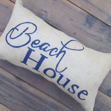 "Nautical Themed ""Beach House"" Burlap 11x20 inches Custom Accent Pillow"