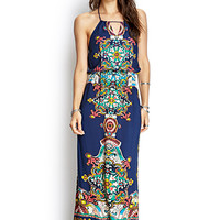 FOREVER 21 Ornate Abstract Maxi Dress Navy/Jade