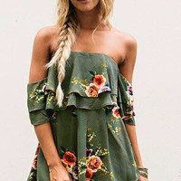 Women's Unique Olive Green Floral Print Off the Shoulder Tube Romper Shorts Set