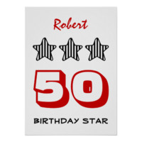50 Birthday Item or ANY AGE Custom Striped Stars Poster