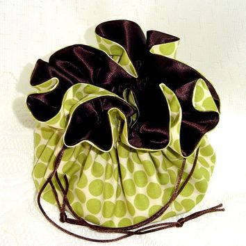 Jewelry Travel Tote/ Drawstring Bag  Amy Butler Polka Dot Lime  Extra Large