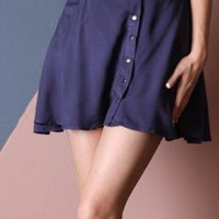 Go With the Flow Buttoned A-line Flare Belted Mini Skirt in Navy | Sincerely Sweet Boutique