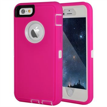 "Maxcury Crosstreesports iPhone 6 Case iPhone 6s Case Heavy Duty Shockproof Series Case for iPhone 6/6S (4.7"")-V2 with Built-in Screen Protector Compatible with All US Carriers - Rose and White"