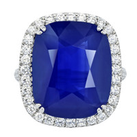 Ceylon 21.19ct Ceylon Sapphire and Diamond Ring