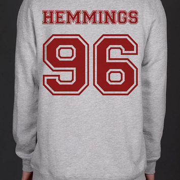 Hemmings 96 on back Luke Hemmings 96 Heather Grey Unisex Crewneck Sweatshirt
