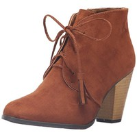 Qupid Womens Nixon 14 Faux Suede Lace Up Ankle Boots