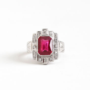 Vintage 18k White Gold Art Deco 2+ Carat Created Ruby & Diamond Halo Ring - 1930s Size 5 1/2 Emerald Cut Pink Stone Engagement Fine Jewelry