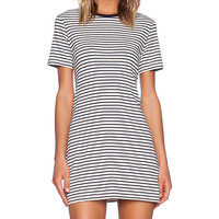 Theory Cherry Classic Stripe Tee Dress in White