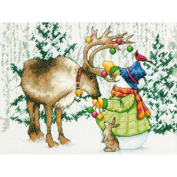 "Ornamental Reindeer (14 Count) Dimensions Counted Cross Stitch Kit 12""X9"""
