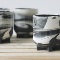 Ceramic espresso cup in black and white marbled pattern. Great as a gift for coffe lovers. coffee mug, ceramic cup,