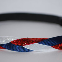 Navy Grosgrain White and Red Glitter Braided HEADBAND - High Quality Non Slip Super Grip Design  Made-To-Order