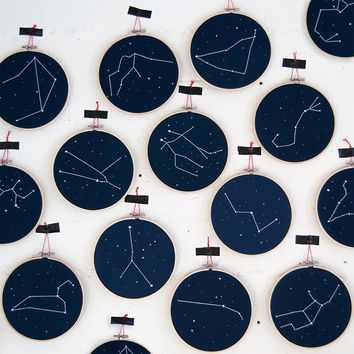 Zodiac Constellation embroidery hoop art - Zodiac Star Sign wall hanging art, Home decor, Newborn birthday gift