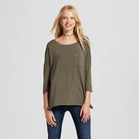 Women's Long Sleeve Drapey Tee - Mossimo Supply Co.™ (Juniors')