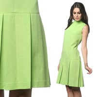 1960s Scooter Dress Mod Mini Pleated 60s Lime Green Drop Waist Vintage Sleeveless Gogo Twiggy High Neck Space Age Minidress Large L