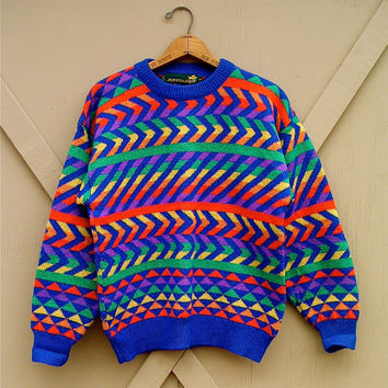 80s vintage Jumpers Vivid Rainbow Chevrons, Stripes and Triangles Wool  Sweater