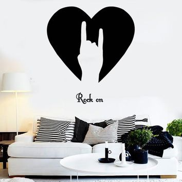 Vinyl Wall Stickers Rock ON Rock-n-Roll Sign of Horn Music Decor (z1672)