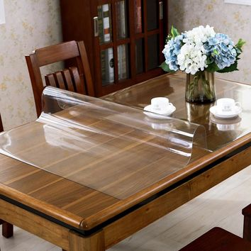 Soft Glass Transparency PVC Table Cloth Waterproof Party Wedding Home Kitchen Dining Placemat Pad Thickness 1.5mm