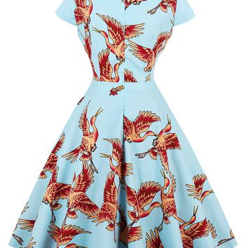 Women New Vintage pin up Cocktail dresses Short Wild goose Pattern Rockabilly Retro Party gown