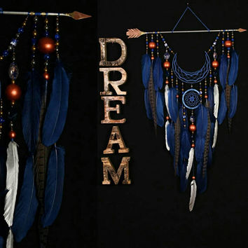 IN STOCK! Arrow Dreamcatcher Moon Dreamcatcher blue dreamcatcher copper dream catchers native american Indian talisman boho blue decor wall