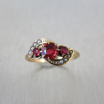 Victorian Ruby Spinel Seed Pearl Ring, Rose Gold Filled 1800s Antique Jewelry, Unique Engagement Ring, Size 7.50, July Birthstone