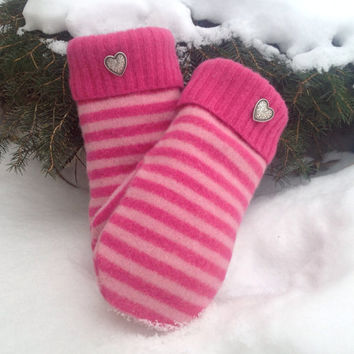Felted Lambs Wool Size Small Pink Striped Sweater Mittens for Women with Hot Pink Polar Fleece Lining and Metal Heart Buttons Ready to Ship