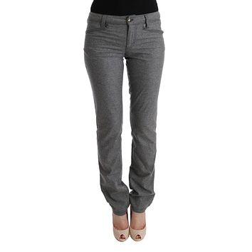 Gray Virgin Wool Skinny Casual Pants
