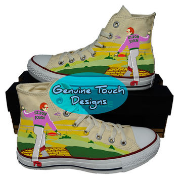 Hand Painted Converse Hi Sneakers. Elton John shoes, Rocket man shoes, goodbye yellow brick road, Handpainted canvas shoes.