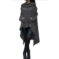 Autumn Winter Women Jacket Coat XXXXL 5XL Plus Size Fashion Long Pullover Outerwear Irregular Hoody Collar Clothing Basic Jacket