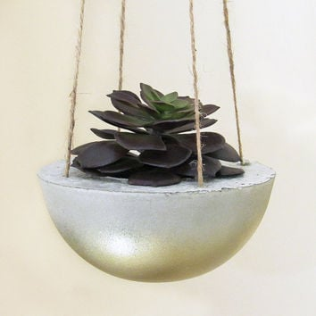 Succulent Planter, Hanging Planter, Concrete Planter, Modern Planter, Gold Planter, Cement Planter, Indoor Planter, Succulent Pot, Unique