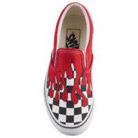 Vans Classic Slip On - Boys' Grade School - Boys' Grade School - Casual - Shoes - Skate Shoes - Vans - Racing Red/True White | Checker Flame | Foot Locker