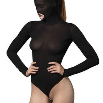 DCCKLP2 Opaque masked teddy with stimulating beaded g-string in BLACK