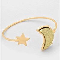 Druzy Crescent Moon & Star Cuff Bracelet - Gold
