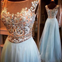 A-line See-through Embroidery Beaded Bodice Prom Dress Light Blue Tulle Girls Dress APD1625