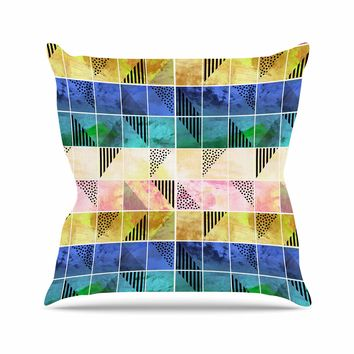 """bruxamagica """"Tartan Blue And Gold"""" Coral Blue Abstract Pattern Digital Vector Outdoor Throw Pillow"""