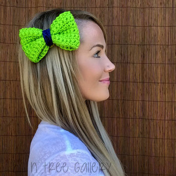 Seattle Seahawks Navy Blue Lime Green Crochet Bow Hair Barrette Woman Girl Football Head Wrap Hawks Football Accessory Women Accessories