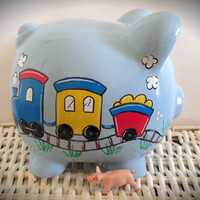 Personalized Hand Painted Piggy Bank With Train
