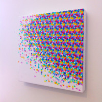 Canvas Art Print - Funfetti Explosion - Graph Drawing, 20 x 20. Large Canvas, original art, art on canvas, kids room, dorm room