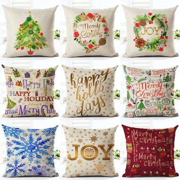 Cushion Cover Merry Christmas Letter Printing Happy Day Joy Holiday Gifts Christmas Tree Throw Pillow Pillowcase Sofa Home Decor