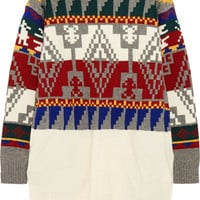 Sacai - Intarsia wool-blend sweater dress