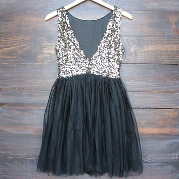 sugar plum dazzling sequin with tulle darling party dress - gold and black