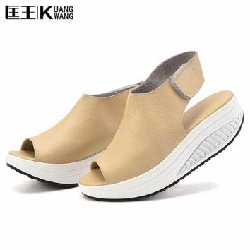 Summer Women Sandals Genuine Leatherl Casual Shoes Women Platform Sandals Peep Toe Swi
