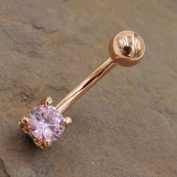 Pink Crystal Rose Gold Belly Button Ring