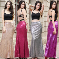 Fashion Solid Color Sequin Long Skirt Pack-hip One Step Skirt