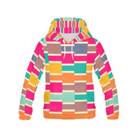 Connected colorful rectangles All Over Print Hoodie for Women (USA Size) (Model H13) | ID: D1438858