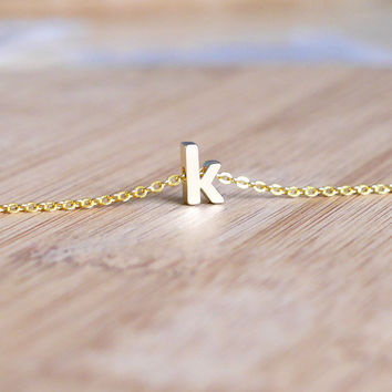 Gold Initial Bracelet - Initial Bracelet, Lowercase Letter Bracelet, Simple Dainty Bracelet, Bridesmaid Gift, Gift Idea, Delicate Jewelry