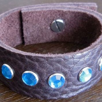 Leather Bracelet - Brown Leather Cuff. With Small Blue Crystals